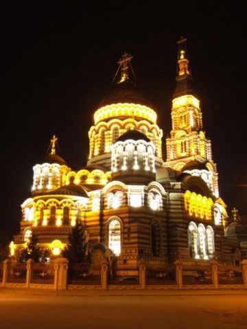 There is Blagoveshenskiy Cathedral at night. Vision of this place is very beautiful and attractive for foreign tourists.