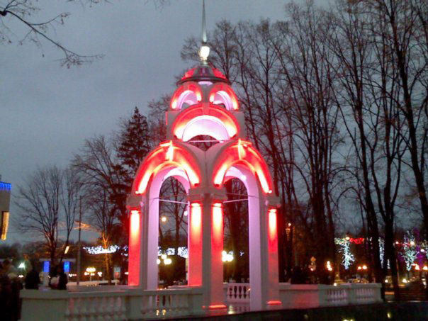 Dzerkalna Struya at night. It is very fantastic view. People like to walk in this park.