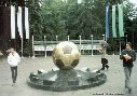 This a monument which is devoted to ball. Our local football club Metalist.